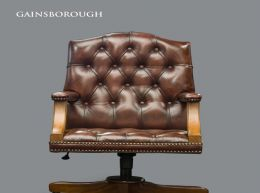Silla de comedor/escritorio chester gainsborough cuero auténtic chesterfield brand
